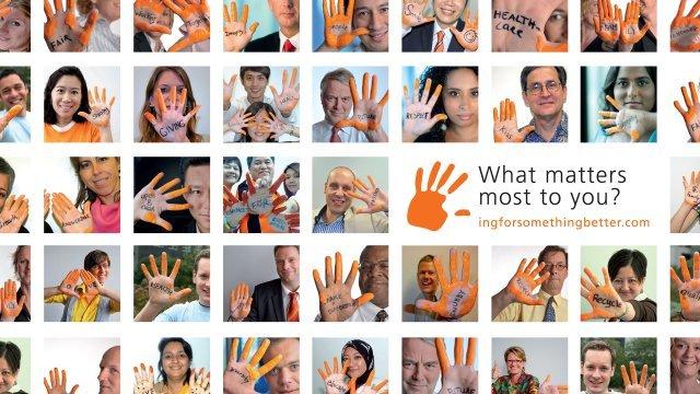 ING Orange Hands wall